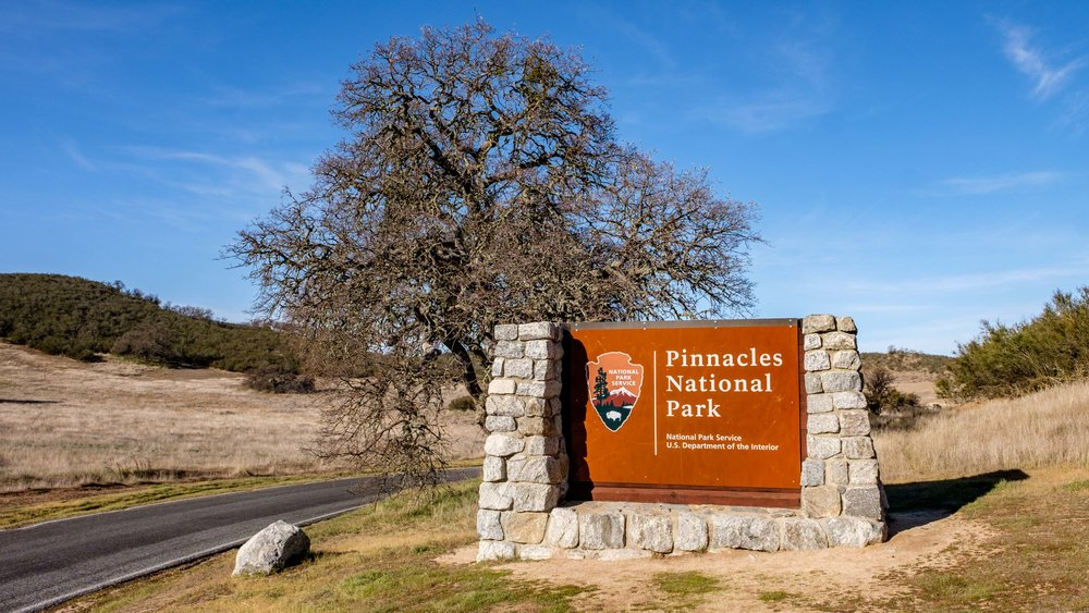 The entrance sign to America's newest national park: Pinnacles in the great state of California!
