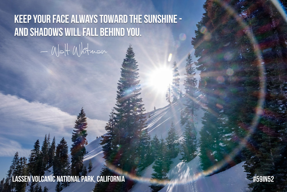 """Keep your face always toward the sunshine - and shadows will fall behind you."" - Walt Whitman"