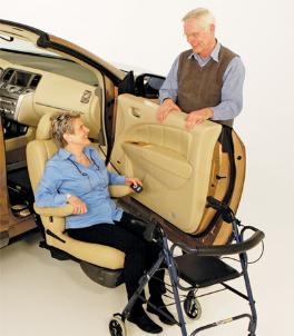 Valet Plus™       This latest addition to Bruno's Valet Signature Seating line provides easy access to an automotive seat in higher vehicles.      The seat power rotates, travels fully out of the vehicle, and it lowers toward the ground for easy access to it.  Has 2 manual recline levers !