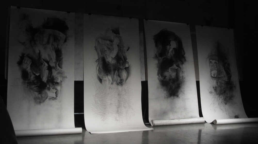 "Scroll Drawings  Graphite, Charcoal on paper  48""x6+'"