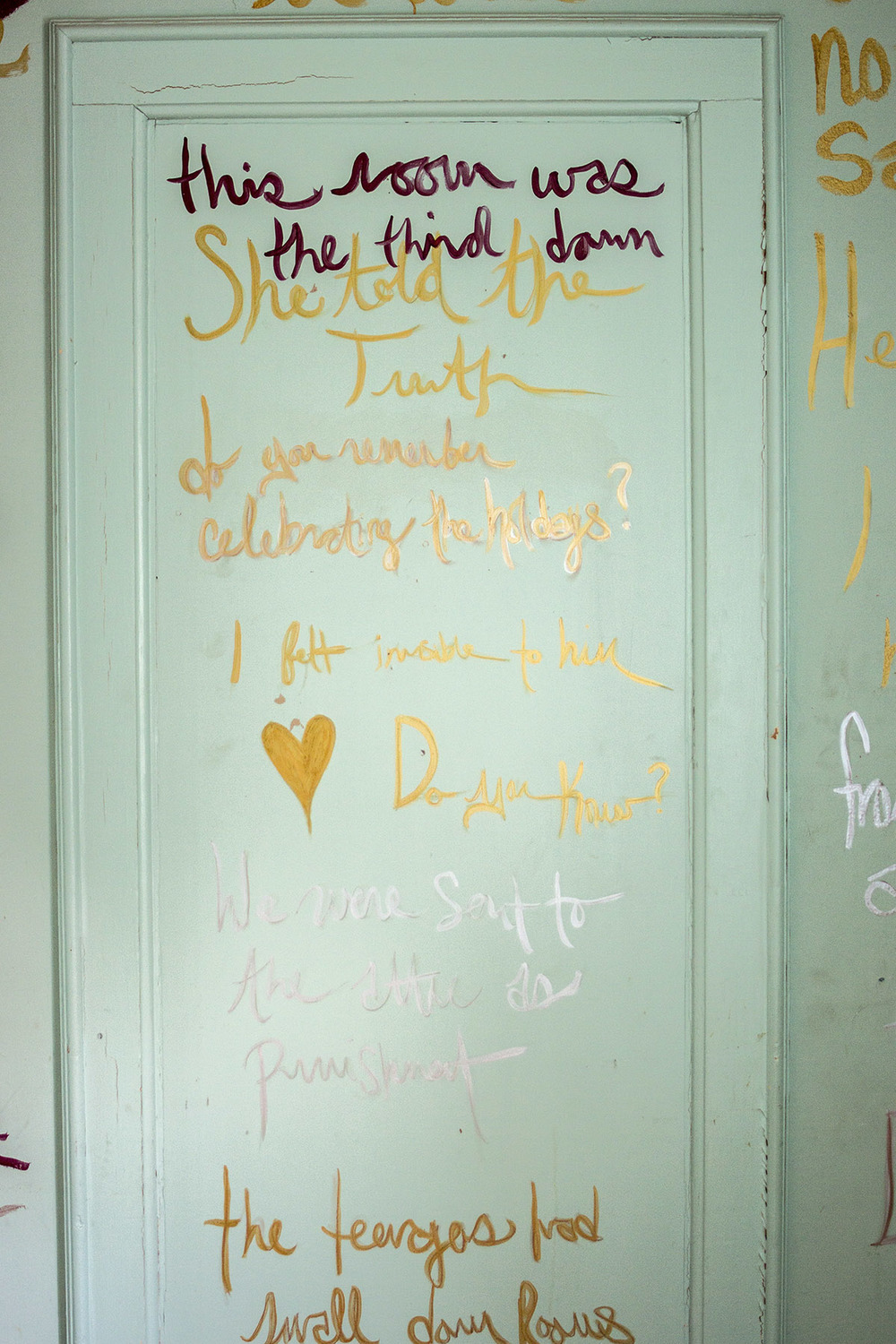 Abbey Meaker,  The Writing Room -- text includes writing found throughout the orphanage, carved into bathroom walls, on yellowed notes, and in stories shared by anonymous past residents.