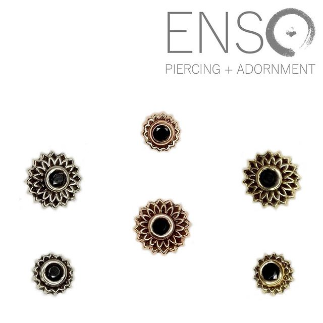 We are in love with @mayajewelry's 14k Thrive and Peony threadless ends! We have them in the studio in Rose, Yellow, and White gold with both clear and black gems. Come grab them this weekend before they sell out! #shopsmall #shoplocal #ensopiercing #ensopiercingandadornment #piercing #bodypiercing #bodyjewelry #saltlakecity #slc #safepiercing #appmember