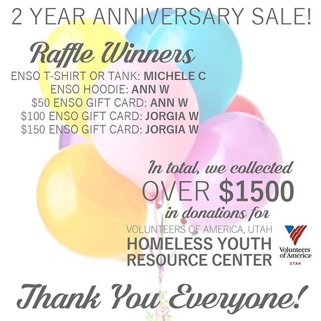 🎉 RAFFLE WINNERS!! 🎉 This year, a few people were extra lucky and we chose their name twice! Thank you everyone for donating to such an awesome cause this weekend. Between Tips, Raffle Ticket sales, and 10% of Gift Cards sold, we raised over $1500 for the @voaut Homeless Youth Resource Center. Thank you all for helping us give back to our amazing community! #giveback #voaut #ensopiercing #ensopiercingandadornment #piercing #bodypiercing #bodyjewelry #saltlakecity #slc #safepiercing #appmember