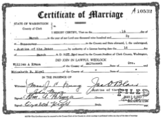 Marriage License and Birth Certificate for dependents