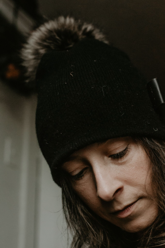 Jenny is wearing our Kennebunkport Beanie in Midnight Black