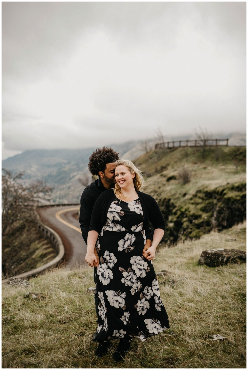 Biracial couple standing together at Rowena Crest