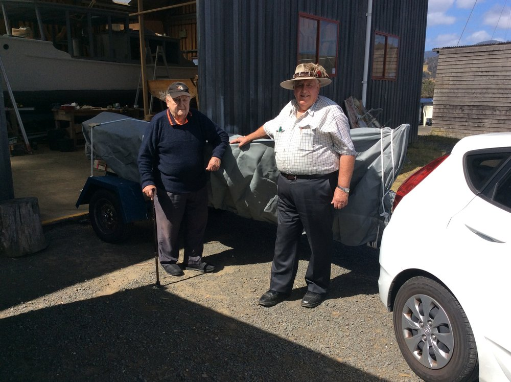 Robert Kirkwood and his friend John ready to roll on home to Victoria with the Clinker Dinghy that will become a legacy for Robert and Sue's grand children.