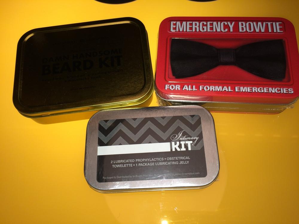 Emergency Bowtie (very James Bond), beard kit and intimacy kit ....
