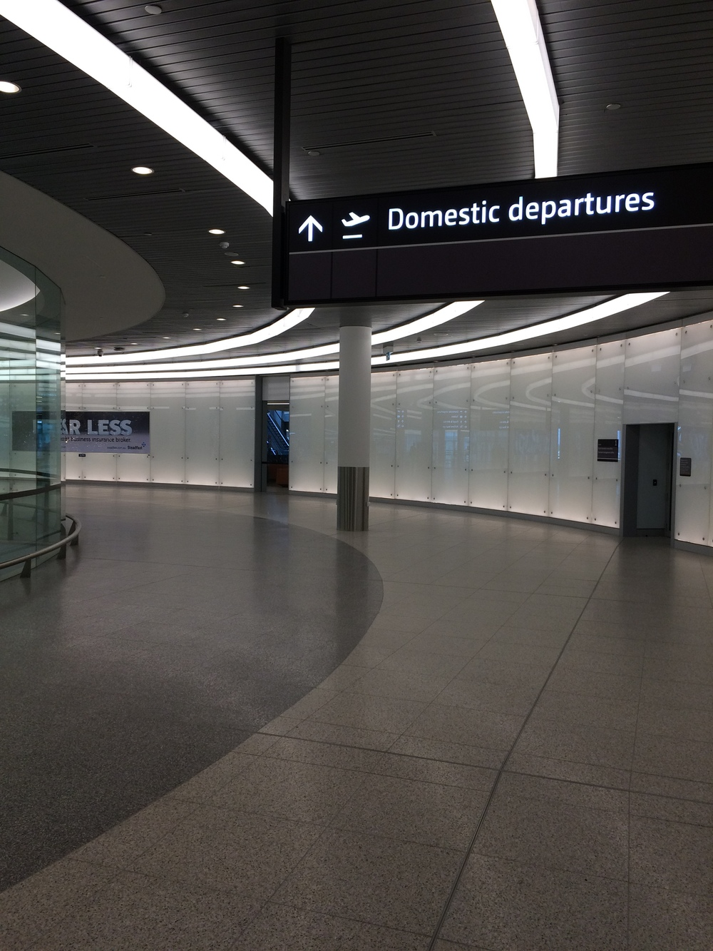 Impressive walkway to the departures hall and lounge