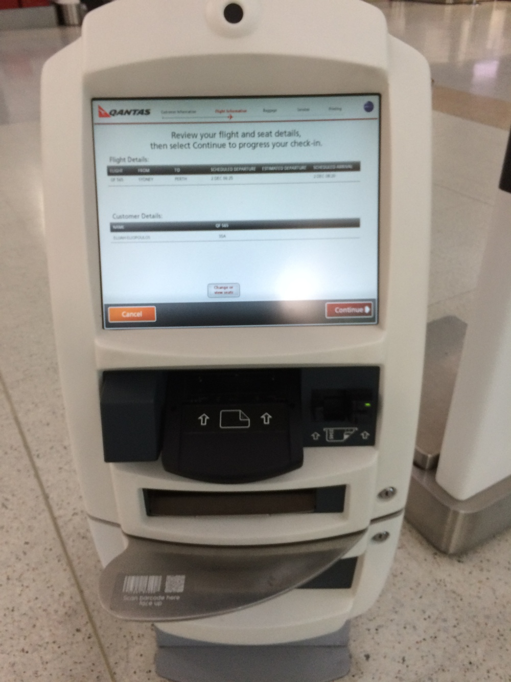 Qantas Check-in Kiosk