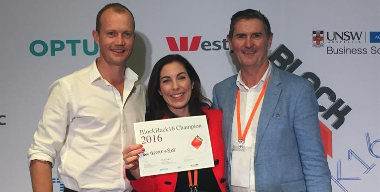 Full Profile's Ben, Emma, and Bob accepting 1st prize at the Westpac BlockHack 16.