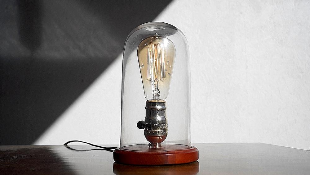 DIY GLASS CLOCHE LAMP
