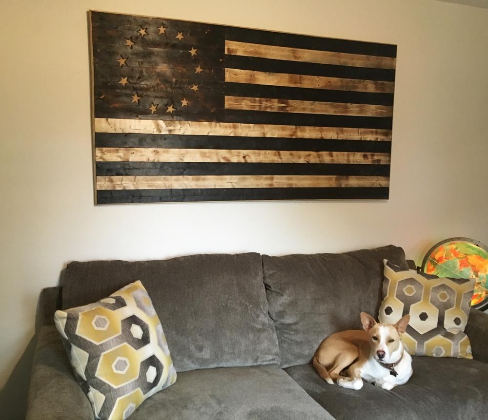 Wood Burnt American Flag.