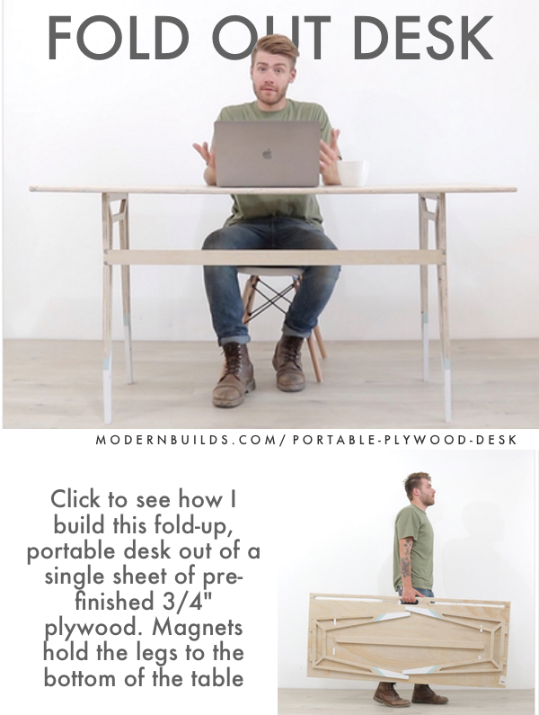 "Portable, CNC desk built from a single 3/4"" plywood sheet. Designed by Mike Montgomery"