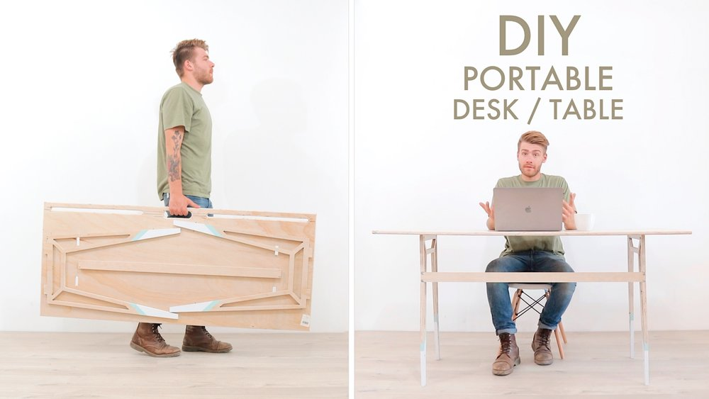 """A portable, Fold Up Desk from a Single Sheet of 3/4"""" Plywood by: Mike Montgomery 