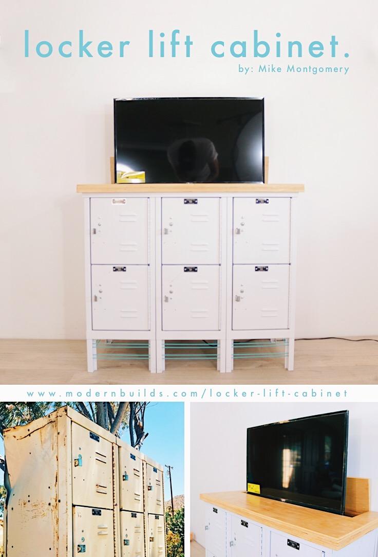 Sideboard Tv Lift vintage locker tv lift cabinet — modern builds