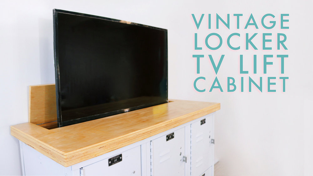 Vintage Lockers Turned into a TV Lift Cabinet / Media Console by: Mike Montgomery