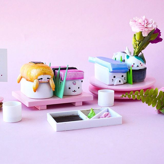 Every morning is a new day with fresh start - even better if it's with sushi 💫💖 These mix and match functional sushi sets are very helpful if you are into sushi and animals. I love these sets so much and can't  part with them - coming soon to our Shop!🤓✨💛 Hope your day is filled with lots of joy! 🌈✨💖💛 #mimaw #mimaworkshop #3d #fun #play #playismore #sushi #cute #animal #sloth #unicorn #cat #desk #3dprinting #mixedmedia #japan #puppy #greentea #handmade #crafty #maker #etsy #etsyau #madeinmelbourne