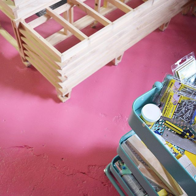 A little moment in our work in progress studio @studioochoocho ! 🔨💖 We said goodbye to the first stage, it was hard but now we are slowly re-crafting the space. Slow and steady work, soon it shall share with other creative people.  Making big things with @superscale_ ⭐️💛#mimaw #mimaworkshop #build #superscale #design #architecture #interior #studio #fun #maker #crafty #dscolor #timber #footscray #handmade #madeinmelbourne