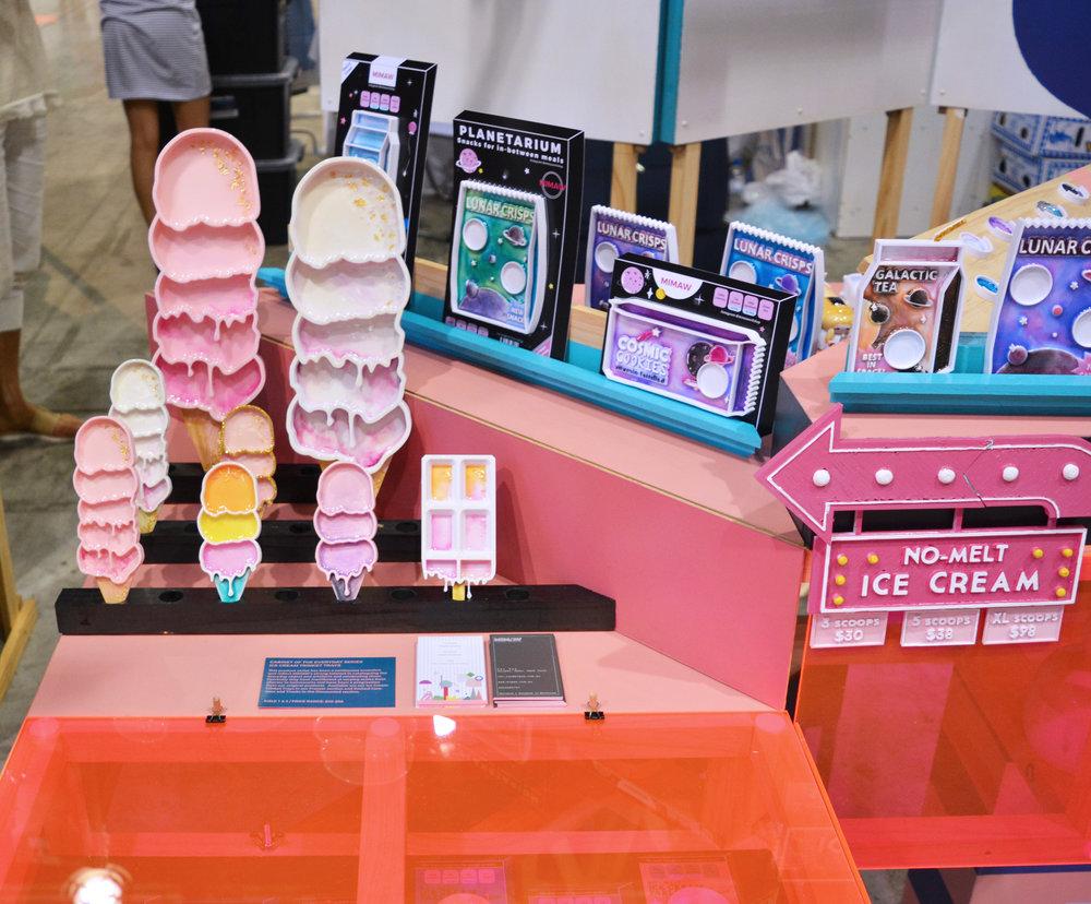 Ice cream fridge under the pink Acrylic