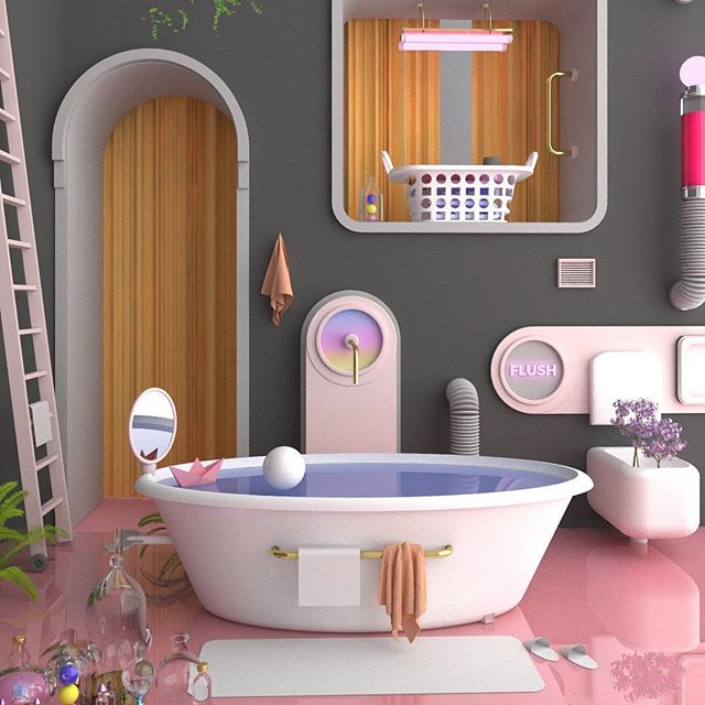 You don't have to do anything in this bathroom. 🛁👗Party Bath @mimawisms is happening soon. . Have a lovely night 💙💛. . #mimaworkshop #design #3d #playismore #render #interior #bathroom #architecture #fun #bath #neon #graphics #play #flush #mimawism #madeinmelbourne #relax
