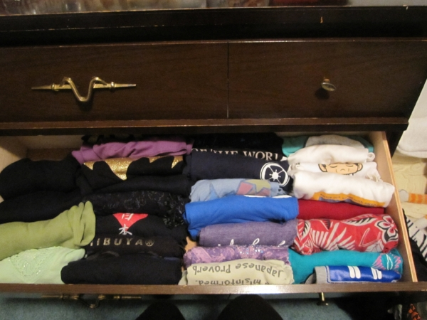 This is the longest that my t-shirt drawer has ever been this organized.