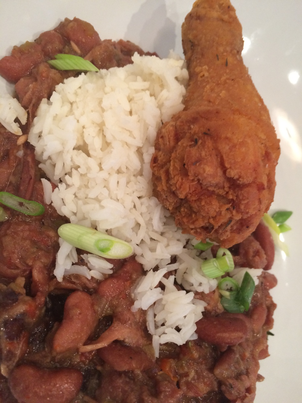 Red beans and rice, with chicken.
