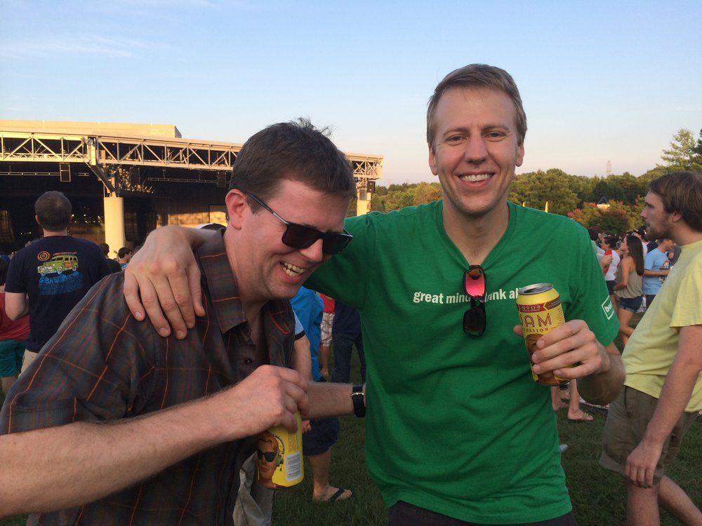 Me and Brian (right) at a show in Charlotte a couple years ago. Know how we know that? Check the NoDa cans.