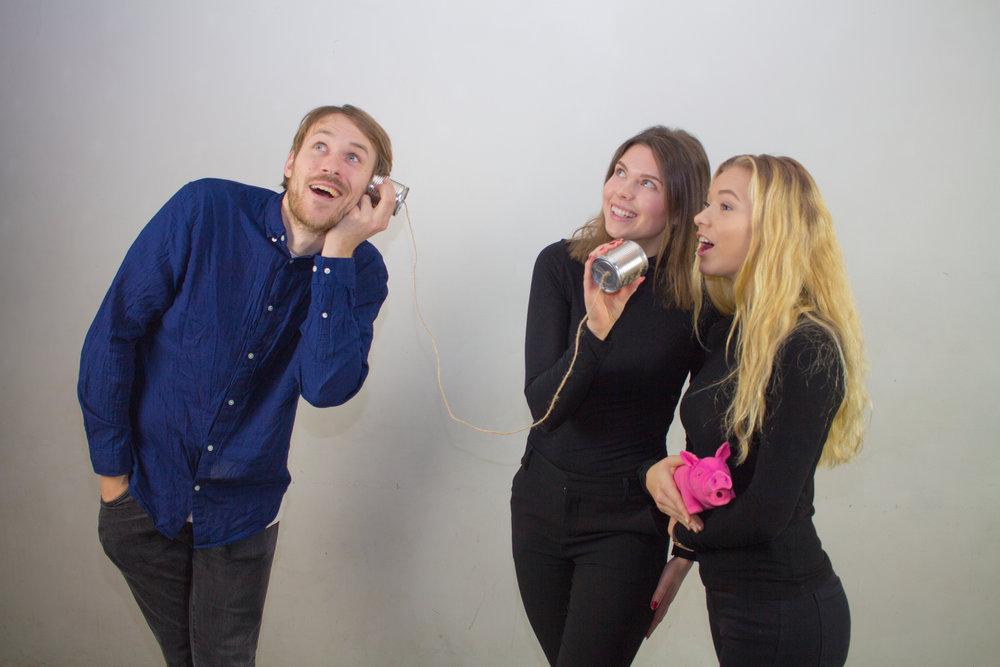 Daniel Willén, Maja Dahlbom och Emma Sjögren.Radioförmän.