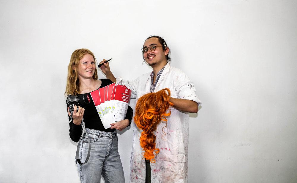 Ebba Busch och Ivan Allgén Takami, Spexförpersoner.