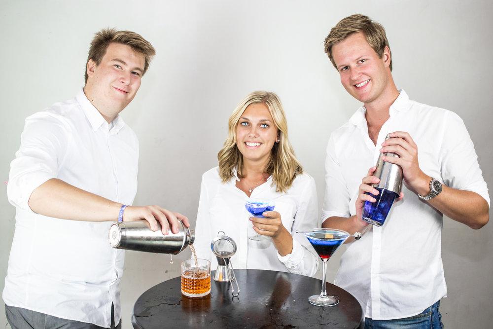 Pontus Gersne, Johanna Lindvall och Fredrik Abrahamsson, Cocktailförmän.