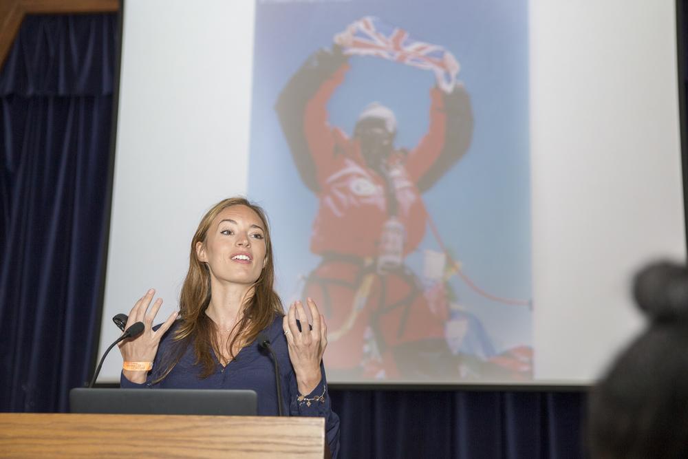 Bonita Norris talks in front of Slam Dunk participants