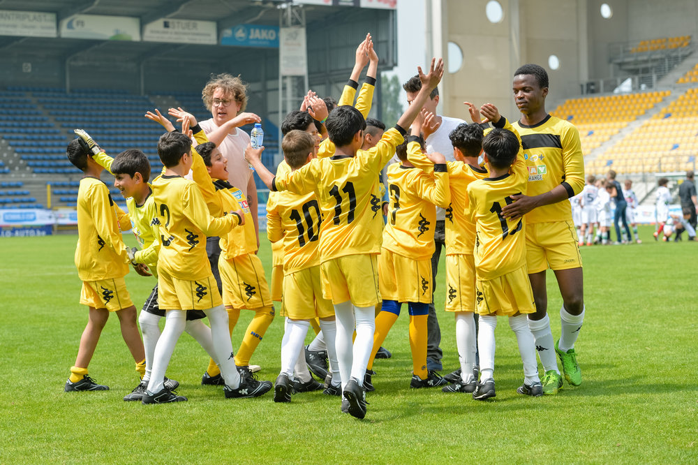 One of the Schools Cup teams celebrating in Belgium