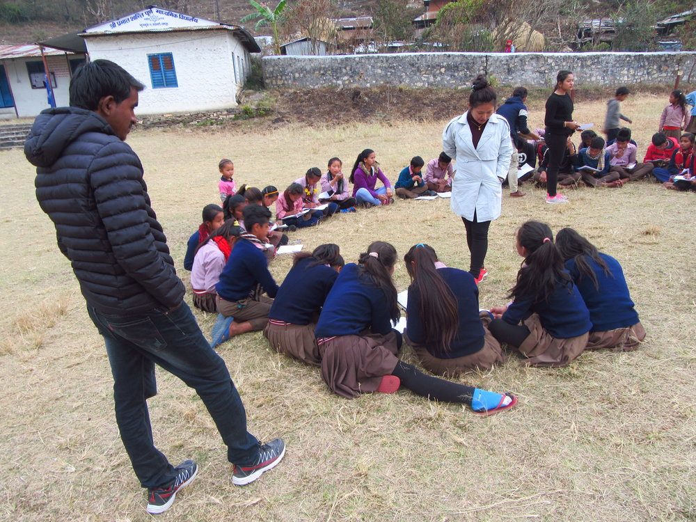 Children participating in life-skills and gender sensitization workshops
