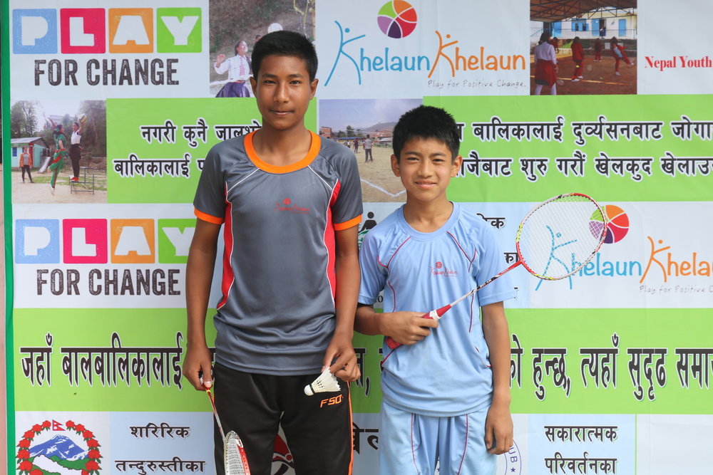 winners in badminton boys singal (1st place Aadarsh in greay and 2nd plance triratna in blue) (7).JPG
