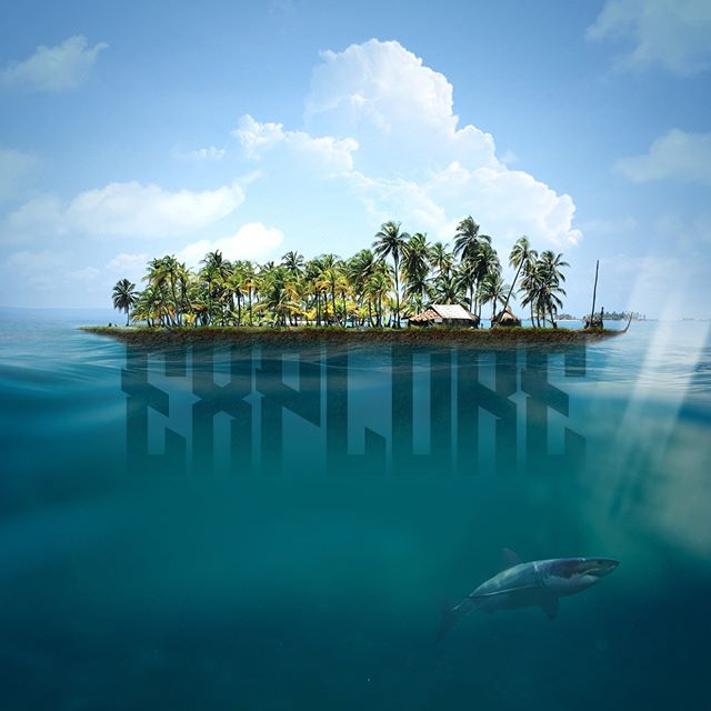 Explore … #experiment #photoshop #render #adobe #instaoftheday #beauty #nature #island #tropical #holiday #beach #sun #explore #exploration #discovery #shark #sealife #sunshine #hot #design #graphicdesign #studio #unsplash #type #typography