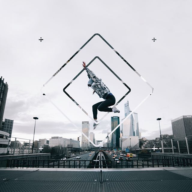 Jumping … #design #graphicdesign #unsplash #grid #artwork #photoshop #adobe #shapes #city #urban #sport #exercise #jump #activity #shape #diamond #poster #art #traffic #trainers #sky