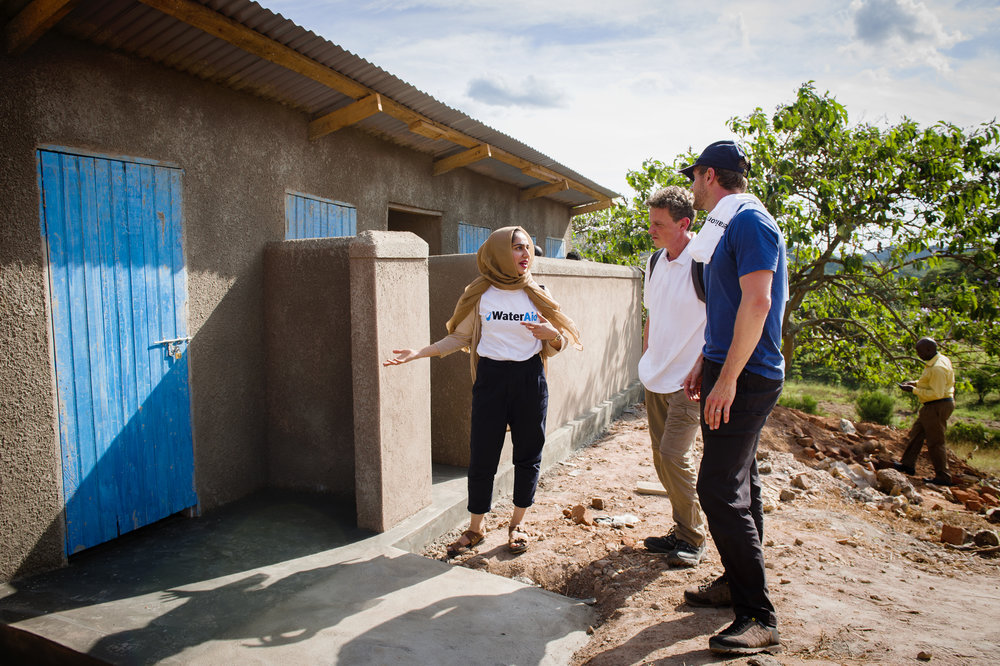 New toilet block at Kikoda primary school, structurally sound with doors and separate toilets for boys and girls.