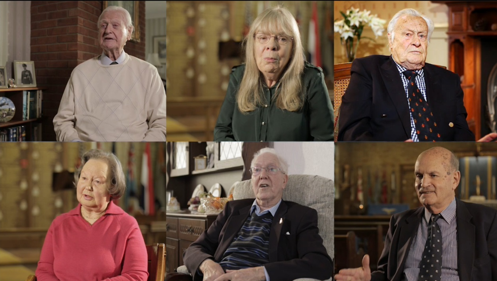 The film's protagonists (clockwise from top left): Tom Neil, Heather Redfearn, Geoffrey Wellum, Geoff Greensmith, John Swan and Valerie Preston.