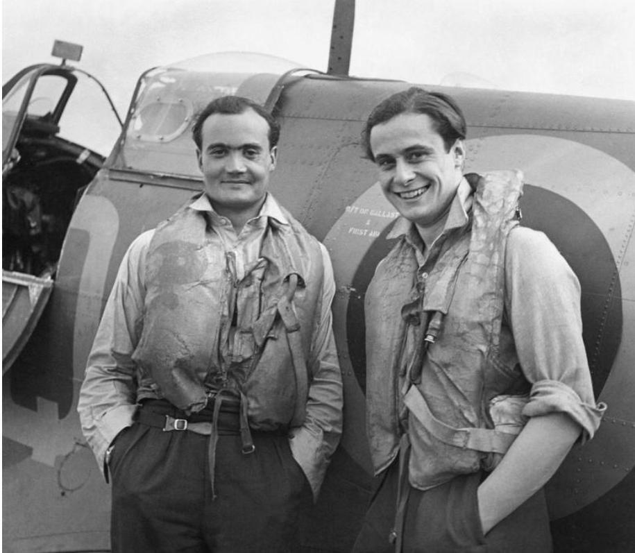 - 1940s Cecil Beaton print of two Battle of Britain fighter pilots, Flight Lieutenant Brian Kingcome (left), commanding officer of No. 92 Squadron Royal Air Force and his wingman, Flying Officer Geoffrey Wellum, next to a Supermarine Spitfire at RAF Biggin Hill, Kent, 1941. © IWM (HU 112488)