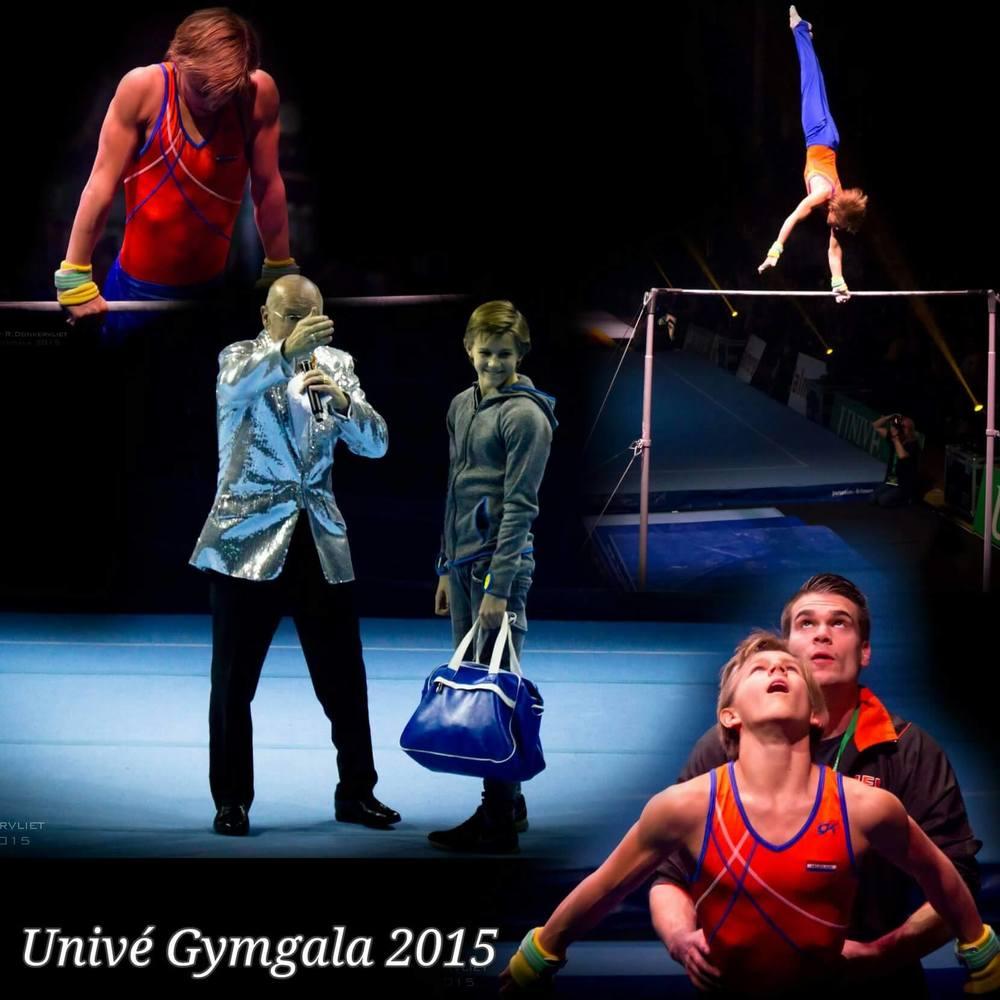 Jelle Massee en Arjen Butter van TURNZ in actie op het Univé Gymgala 2015