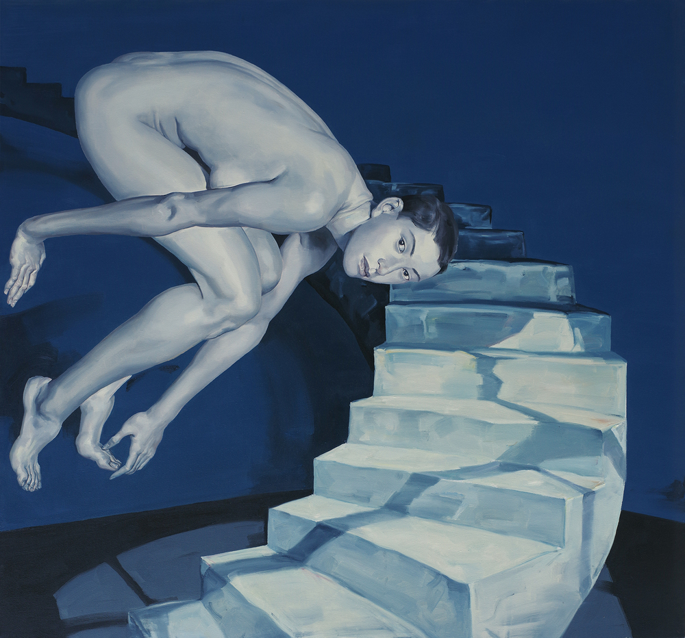 Wu Jun, City Migrator series: Spiral Staircase, 2010, oil on canvas, 150cm x 160cm