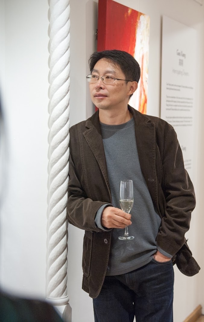 Gao Xiang, at the start of the opening reception of  Gao Xiang: Interrogating Dreams , 31 October 2017, Katrine Levin Galleries, London
