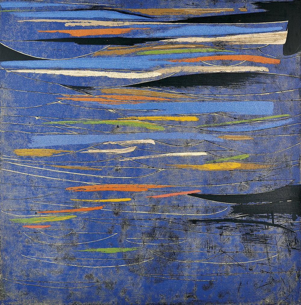 Chen Li, Reflections in a Blue Lake, 2010, original reduction woodblock print (detail), 100 x 100cm, Edition of 12