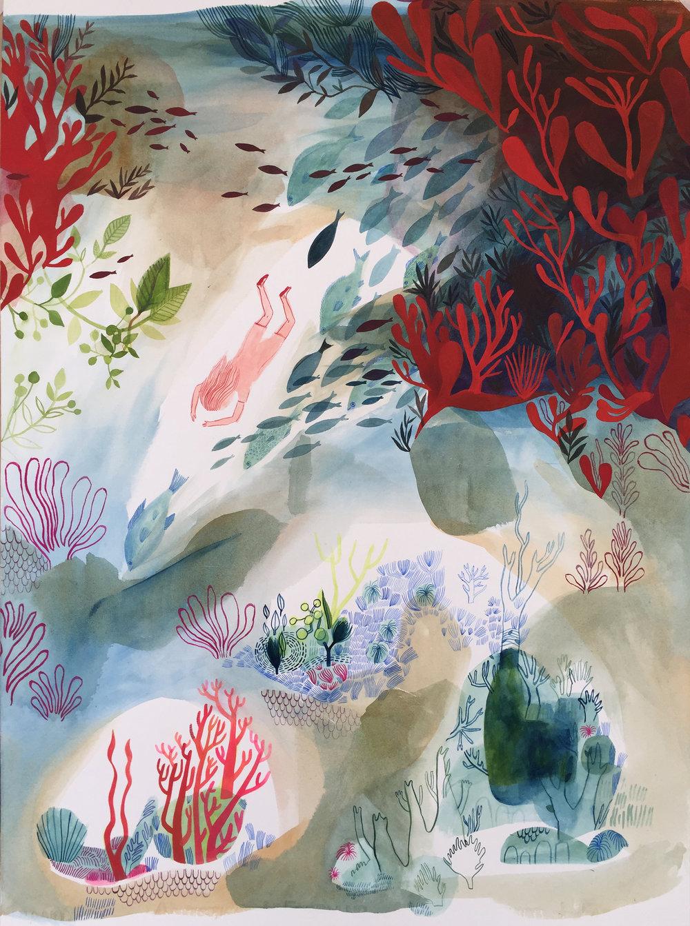'The Diver' / 2017 / Gouache on paper
