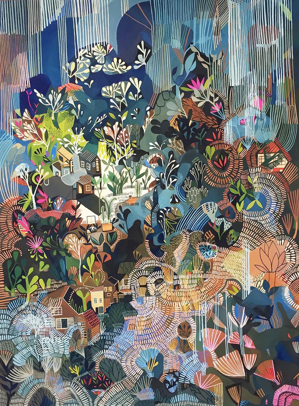 Rainforest , Ashley Amery, 2018, Gouache on paper, 56 x 76 cm