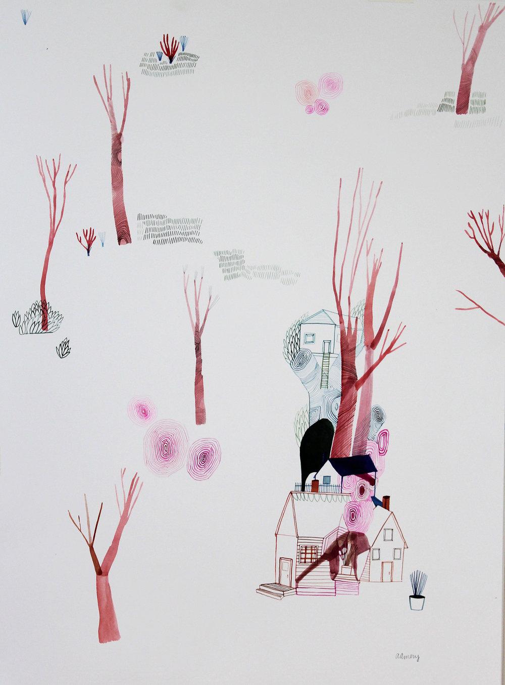 Winter Tree House , Ashley Amery. 2017, Gouache on paper, 56 x 76 cm