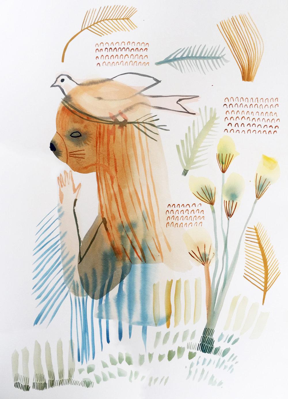 Peace Prayer , Ashley Amery, 2018, Gouache on paper, 35 x 54 cm