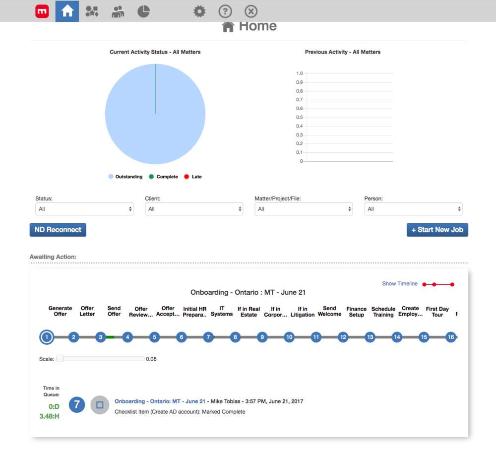 mot-r web application view of Onboarding Workflow