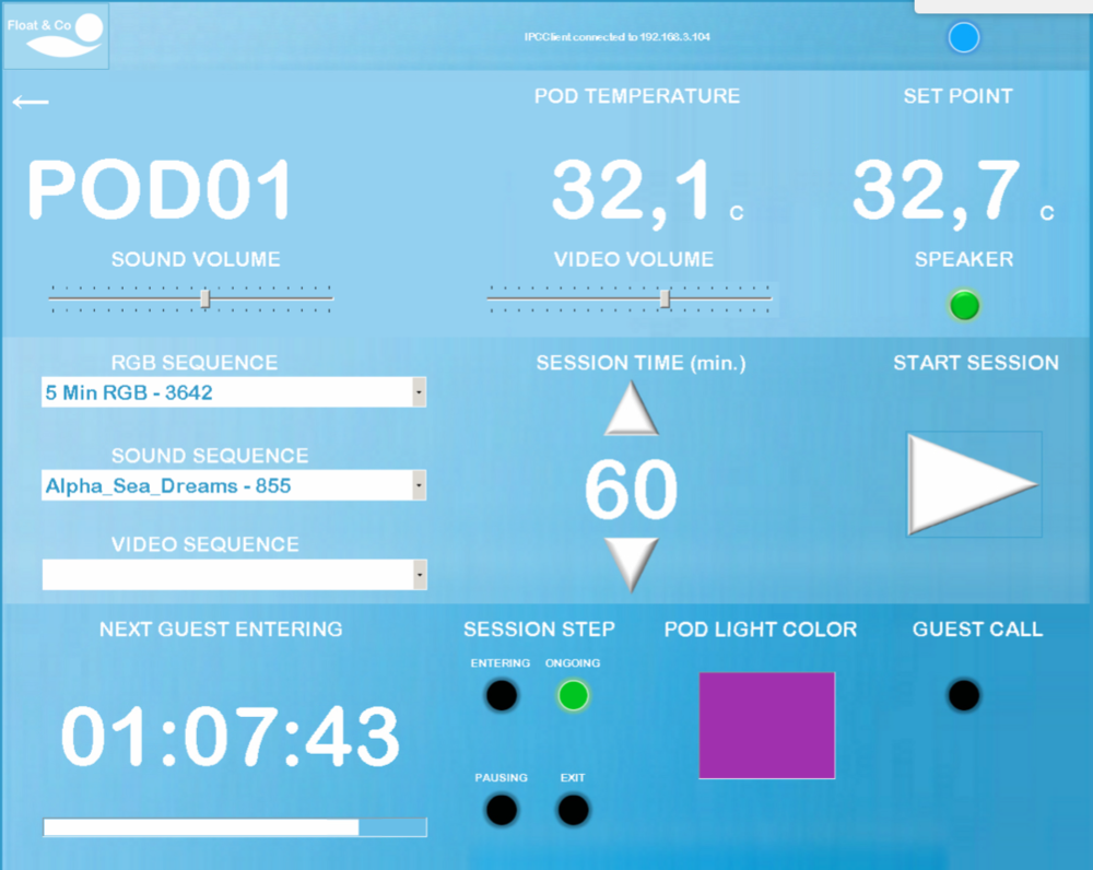 Schermata Interfaccia Utente (HMI) sistema di controllo